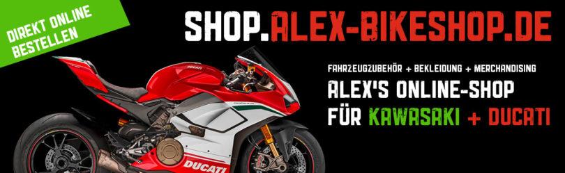 Alex Bikeshop - Online Shop für Kawasaki und Ducati Zubehör, Bekleidung und Merchandising